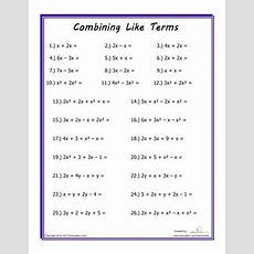 Combining Like Terms  Worksheets And Math