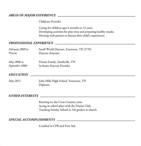 resume exles for highschool students in word resume