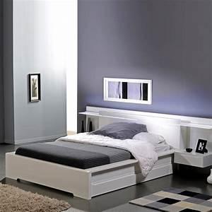 Lit 140 Avec Tiroirs Rangement : lit blanc ~ Teatrodelosmanantiales.com Idées de Décoration