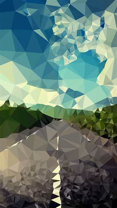 Geometric Iphone Polygon Landscape Wallpapers Phone Road