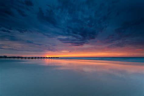 nature sea water night sunset sky clouds sea sunset sky