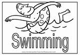 Coloring Swimming Pages Summer Pool Word Water Safety sketch template