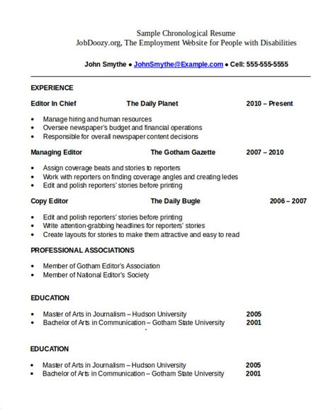 Chronological Resume by Chronological Resume Template 28 Free Word Pdf