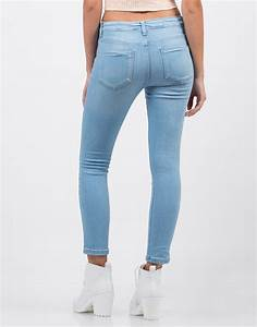 Classic Crop Skinny Jeans - Blue Jeans - Light Blue Denim u2013 2020AVE