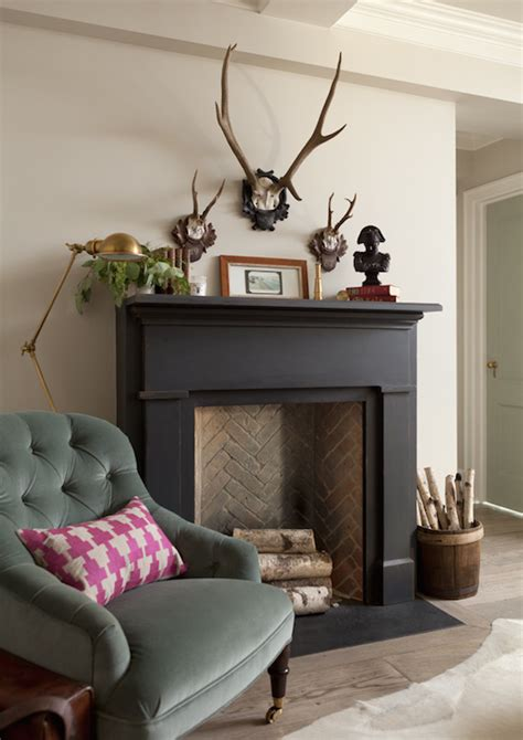 black fireplace mantle country living room jenny