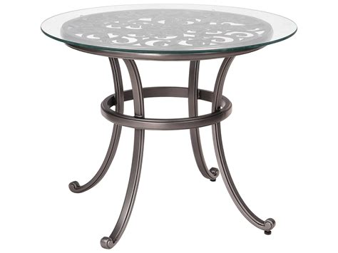 round glass top outdoor table woodard new orleans cast aluminum 36 round glass top