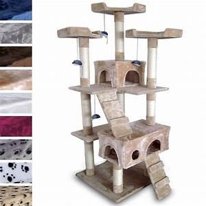 Arbre A Chaton : pin arbre chat en bois et tissu gris demeter animaux par ~ Premium-room.com Idées de Décoration