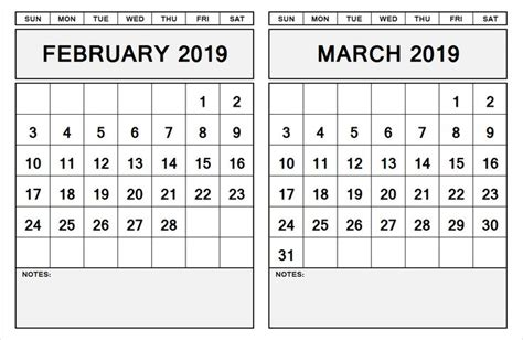 month calendar february march  calendar template