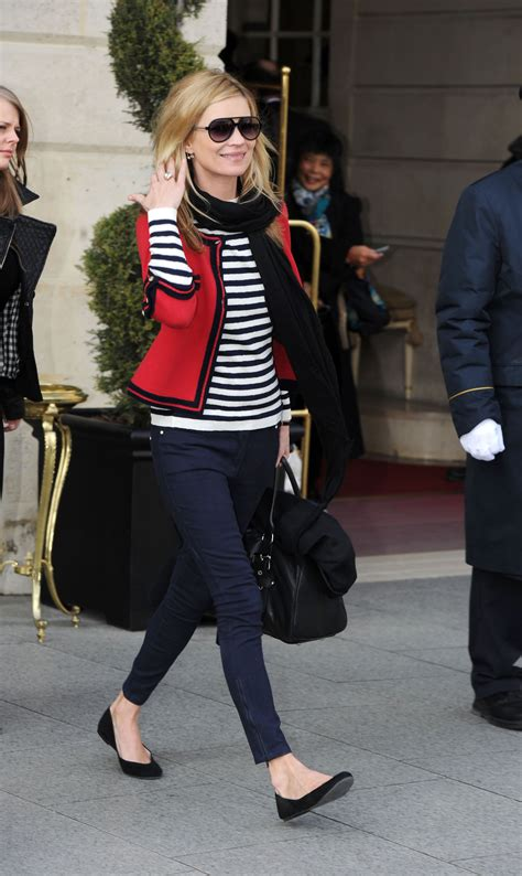 Photos of Kate Moss in Nautical Outfit at Paris Fashion ...