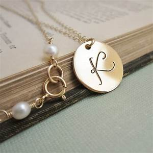 personalized necklace gold initial necklace by kgarnerdesigns With custom letter necklace gold