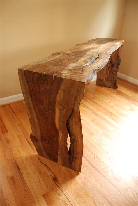 edge walnut console table living rooms