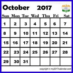 India October 2017 Calendar