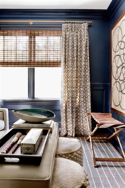 curtains for blue walls 26 cool brown and blue living room designs digsdigs