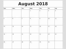 August 2018 Blank Monthly Calendar Pdf