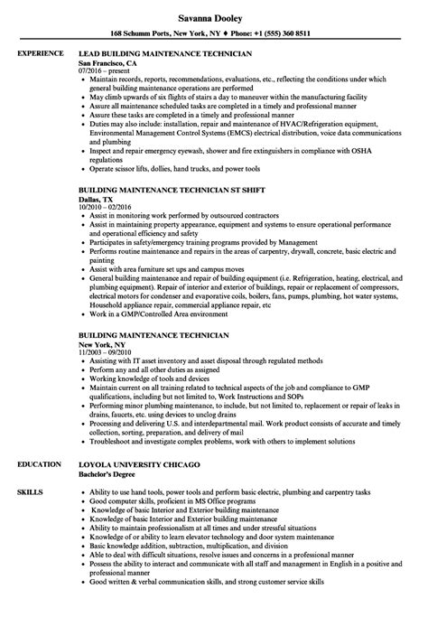 building maintenance technician resume sles velvet