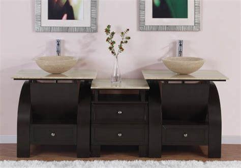 Inch Modern Double Bathroom Vanity With Travertine