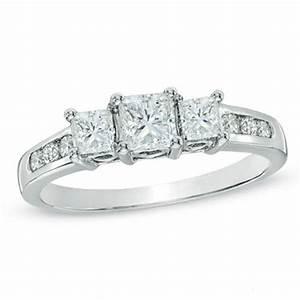 1 ct tw princess cut diamond past present future With past present future ring with wedding band