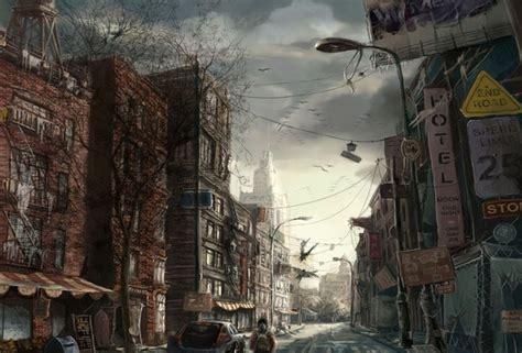 wallpaper paint city street desktop wallpaper