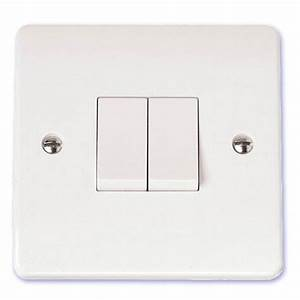 Scolmore Mode 10a 2 Gang Double 2 Way Light Switch White