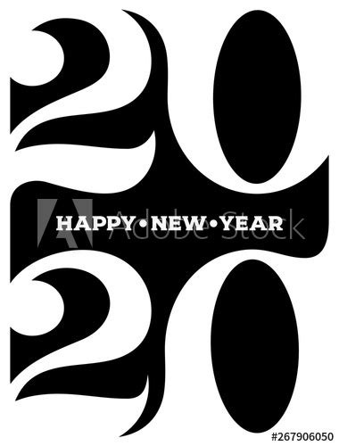 2020 Happy new year logo. Celebration text graphics. Cover