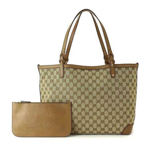 auth gucci gg canvas tote bag leather beige purse