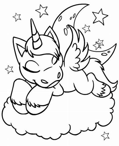Coloring Sleeping Cloud Unicornios Unicorn Neopets Uni