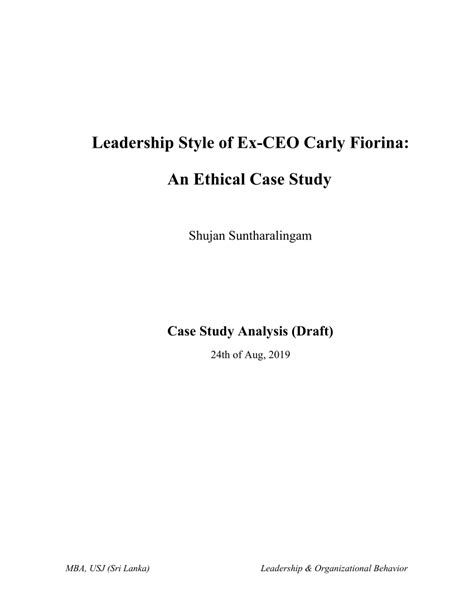 leadership style   ceo carly fiorina  ethical