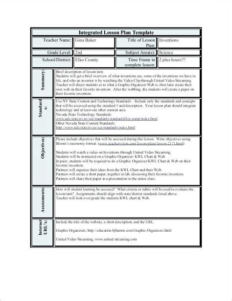 Direct Interactive Lesson Plan Template by Elements Of Effective Lesson Plan Template