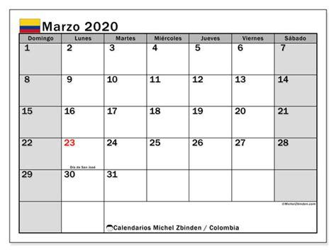calendario marzo colombia michel zbinden es
