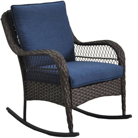 porch rocking chair blue cushion wicker outdoor rocker