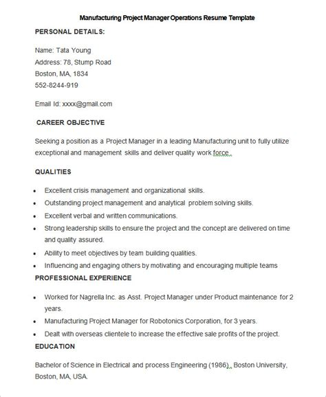 Manufacturing Resume Exle by Manufacturing Resume Template 26 Free Sles Exles
