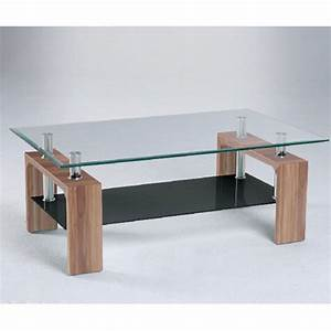 modern glass coffee table with black undershelf and walnut With glass coffee table with black legs