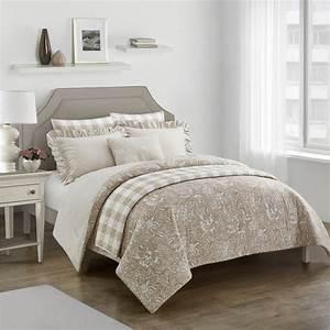 7pc, , worthington, taupe, reversible, comforter, set