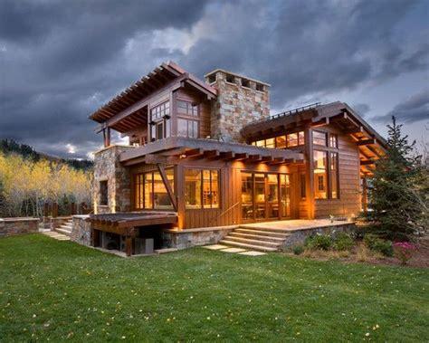 Rustic Home Exterior Design by Brilliant Contemporary Rustic Home Design Spacious Home