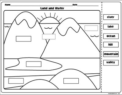 landforms and bodies of water freebie first grade