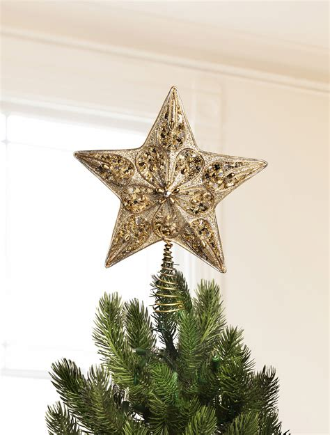 silver and gold beaded star tree topper balsam hill