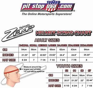 Sizing Chart Zamp Auto Racing Helmets