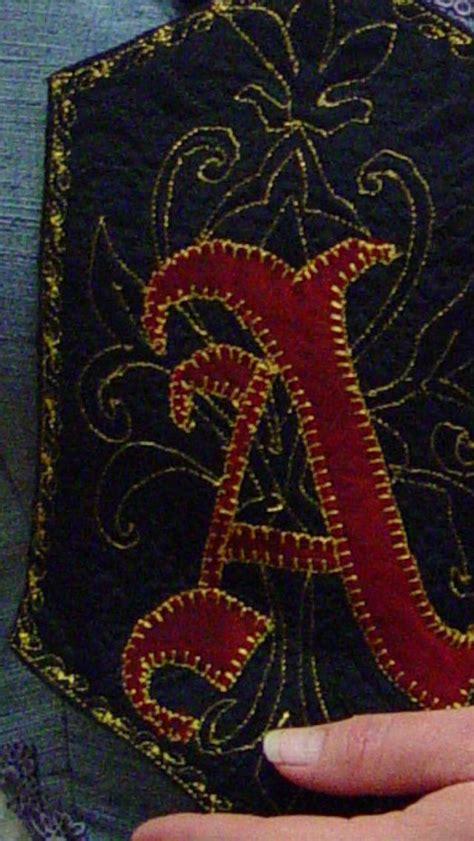 embroidered scarlet letter lettering
