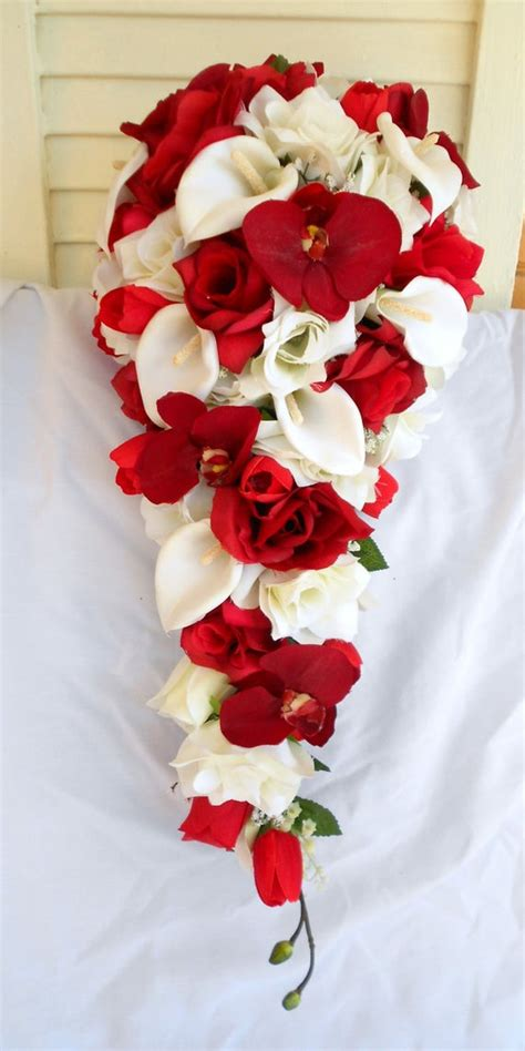 red orchids silk cascade bouquet  ivory roses