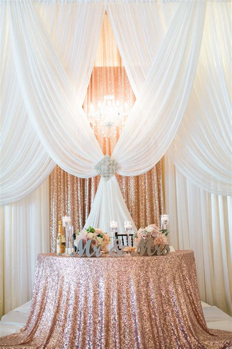 Gorgeous Pipe And Drape Backdrop To A Half Moon Sweetheart