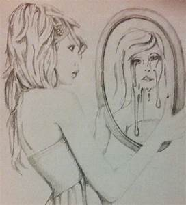 Person Looking In Mirror Drawing