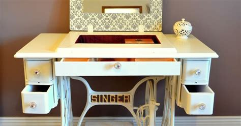 repurposed kitchen cabinets antique singer sewing machine turned into the vanity 1884