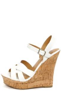 cute white heels peep toe heels wedge sandals 28 00