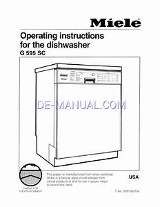 User U0026 39 S Manual For Dishwasher Miele G 595 Sc  Download Free