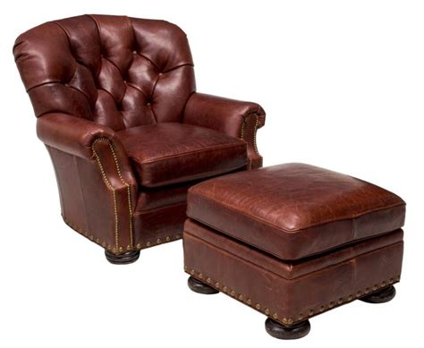 2 brown leather tufted club chair ottoman