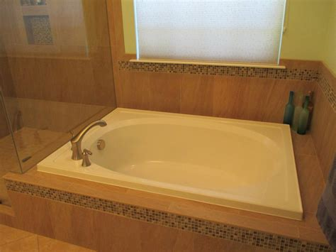 garden tub shower bathroom remodel garden tub glass tile lr