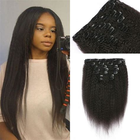 120g coarse yaki clip in hair extensions unprocessed
