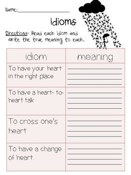 idioms and meanings 2nd grade worksheet by amanda