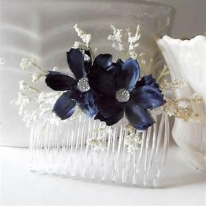 Navy Blue Flower Hair Combs Bridesmaid Hair Accessories
