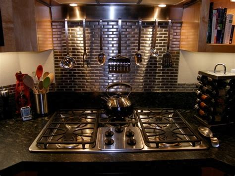 kitchen stainless steel tile backsplash